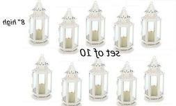 10 White Victorian shabby whitewashed Lantern Candle holder