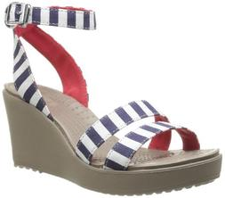 crocs Women's 15313 Leigh Graphic Wedge Sandal, Nautical Nav