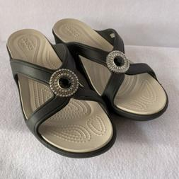 """CROCS 2"""" Wedge Sandal Gray & Taupe With Bling Size 9"""