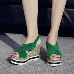 2019 NEW Women Sandals Platform Wedge Suede Heels Sandals Sh