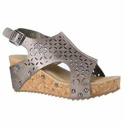 22251 pewter womens wedge sandals size 9m