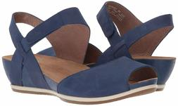 DANSKO 235068 Women's Vera Milled Nubuck Blue Sandal Wedge S