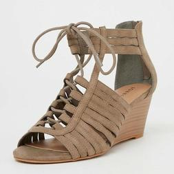 Torrid 8.5 W Sandals Wedge Lace Up Strappy Heels Shoes Wide