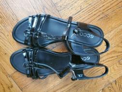 ECCO 8 to 8.5 Black Wedge Sandals EU 39 Patent Leather