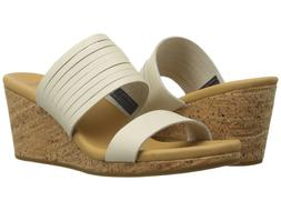 TEVA  $95 WHITE LEATHER ARRABELLE SLIDE WEDGE SANDALS   9