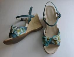 adiprene by adidas blue floral leather wedge