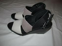 Sorel After Hours Wedge  woman black/white/grey  sandals   B