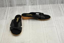 **Onex Ana Leather Wedge Slide Sandals, Women's Size 9, Blac