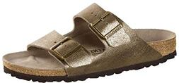 Birkenstock Womens Arizona Leather Sandal, Washed Metallic A