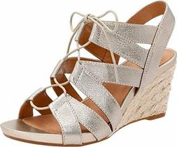 Clarks Artisan Acina Chester Wedge Sandals Gold Metallic Lea