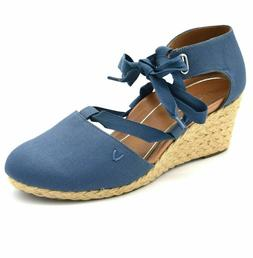 Vionic Aruba Kaitlyn Denim Medium Width Lace Up Wedge FREE S