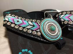 MONTANA WEST AZTEC BLACK WEDGE SOLE ROUND CONCHO BEADED FLIP