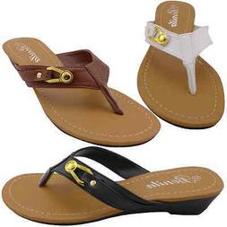 BABY-07 Womens Sandals Flip Flops Thong Shoes Low Wedge Heel