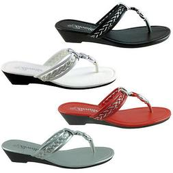 BABY-103 Womens Sandals Wedge Shoes Low Heels Flip Flops Tho
