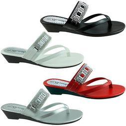 BABY-104 Womens Sandals Wedge Shoes Low Heels Flip Flops Tho