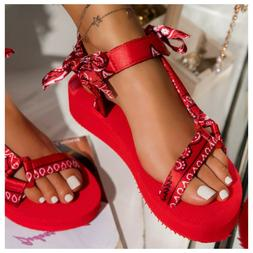 Bandana Print Sandals - Bow Detail - Red