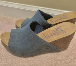 Blowfish Blue Denim Wedge Sandals 7 BRAND NEW