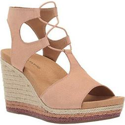 Lucky Brand Women's Yejida 2 Leather Open-Toe Wedges Heeled