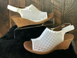 ROCKPORT Briah White Perforated Slingback Leather Wedge Sand