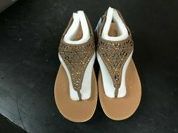 Skechers Brie Dally Women Thong Sandals Brown Gold Low Heel