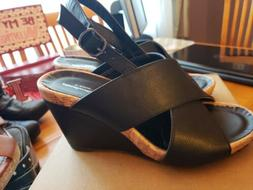 Cloudwalkers By Avenue Loni Wedge Sandals Shoes Size 9W Blac
