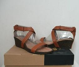TEVA Cabrillo Strap Wedge 2 Sandals Shoes 6.5US TAN Brown Le