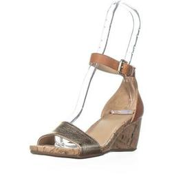 naturalizer Cami Ankle Strap Wedge Sandals, Tan/Gold