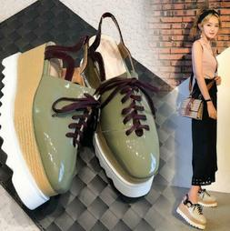 Casual Women's Shoes Square Toe Lace Up Creeper Wedge High H