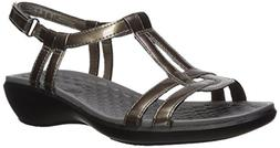 CLARK'S Women's Sonar Aster Sandal, Pewter Synthetic Patent,
