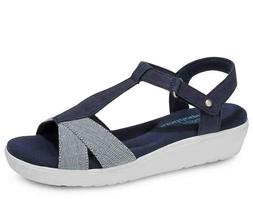 clover wedge sandals blue white women s