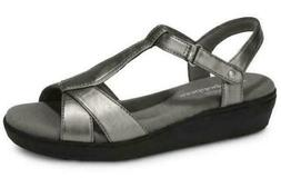 GRASSHOPPERS Clover Wedge Sandals Pewter/Silver Women's Casu