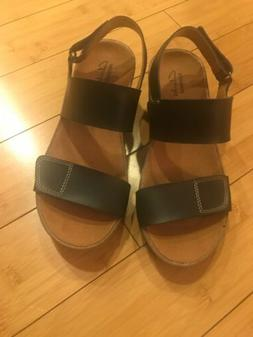 Clarks Collection Black Leather Wedge Sandals Women's 6 Wide
