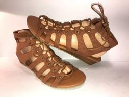 COOL BY COOLWAY SZ 10 1/2 BROWN LACE UP AnKle Wedge WOMEN SA