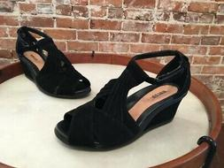 Earth Curvet Black Suede Peep-toe Wedge Sandals New