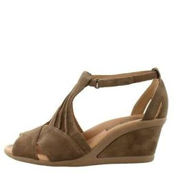 Earth Curvet Wedge Heel  Leather Womens Sandals Mid To High