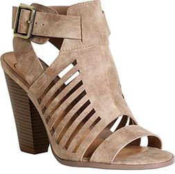 SODA Delicious Yummy Cutout Stacked Heel Sandal,Taupe Pu,7.5