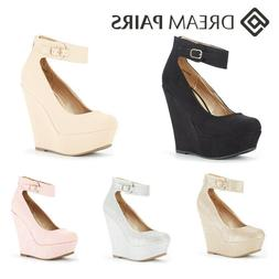 DREAM PAIRS Women's Platform Wedge Sandals Ankle Strap Back