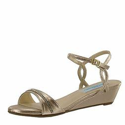Nude Gold Shimmer Women's Prom Bridesmaid Bridal Low Wedge S