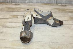 Anne Klein Edan Wedge Sandals, Women's Size 8.5 M, Pewter NE