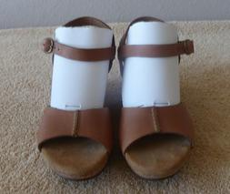 CLARKS ELEMENTS BROWN LEATHER WEDGE CORK SANDALS OPEN TOE AN