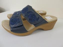 ALEGRIA EMBROIDERED LEATHER BLUE WEDGE SANDALS SHOES LINN NE