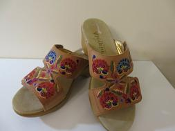 ALEGRIA EMBROIDERED LEATHER COGNAC WEDGE SANDALS SHOES LINN