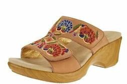 Alegria Embroidered Leather Slip-on Wedge Sandals Linn Cogna