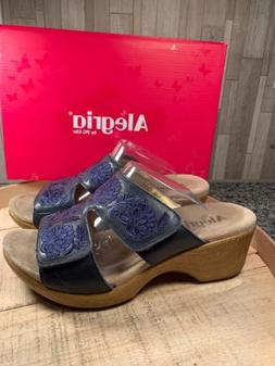 Alegria Embroidered Navy Tonal Leather Slip-on Wedge Sandals