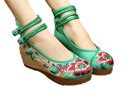 AvaCostume Women's Embroidery Floral Strappy Round Toe Platf