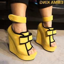 Fashion <font><b>Yellow</b></font> Women <font><b>Wedge</b><
