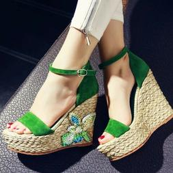 FASHION Women Platform Sandals Wedges Heels Faux Suede Shoes