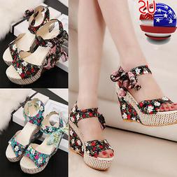 Fashion Women Summer Lace Up Flip Flops Sandals Loafers Wedg