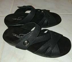Easy Street Feature Wedge Slide Sandals, Black Size 7W BRAND