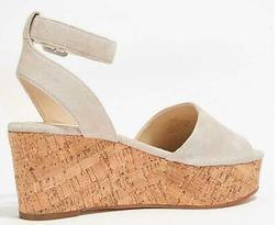 Marc Fisher Leather Wedge Sandal Rillia Light Nature - NEW